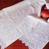 Свадебный салон handmade. Livemaster - original item White rushnik for wedding Wedding rushnik Rushnik under the feet of the young. Handmade.