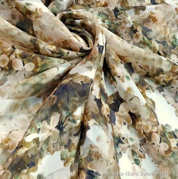 Шелк натуральный с цветочным принтом, Ткани, Москва,  Фото №1