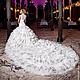 Роскошное церемониальное дизайнерское свадебное платье Anne-Marie Luxe с длинным шлейфом. Авторские украшения из самоцветов,  драгоценного бисера, Swarovski и фианитов.
