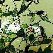 """Для дома и интерьера ручной работы. Ярмарка Мастеров - ручная работа Витраж в технике Тиффани """"Яблони в цвету"""". Handmade."""