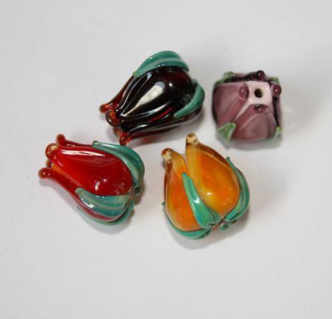 Для украшений ручной работы. Ярмарка Мастеров - ручная работа. Купить Бусины бутоны лэмпворк (lampwork). Handmade. Авторский лэмпворк