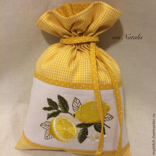 """Кухня ручной работы. Ярмарка Мастеров - ручная работа. Купить Льняной мешочек """"Лимончик"""". Handmade. Мешочек, мешочек для хранения, желтый"""