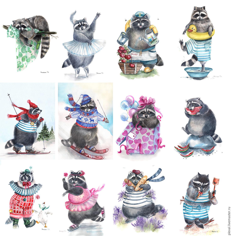 Illustrations handmade. Livemaster - handmade. Buy Postcards and posters, prints of paintings by Povetskay Tatiana.Postcard, cat