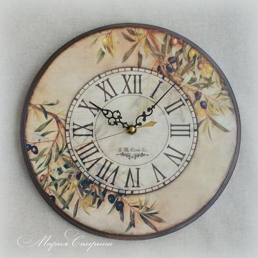 часы настенные, часы интерьерные, часы прованс, тоскана, часы кантри, часы деревянные, загородный дом, средиземноморский стиль, купить часы, часы для кухни, в стиле прованс, часы с оливками, Тоскана