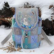 """Рюкзаки ручной работы. Ярмарка Мастеров - ручная работа Льняной рюкзак """"Белый кот"""". Handmade."""