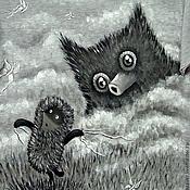 """Одежда ручной работы. Ярмарка Мастеров - ручная работа Футболки """"Ёжик в тумане с совой"""". Handmade."""
