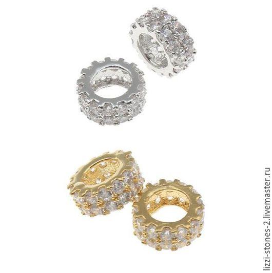 Бусина рондель золото и серебро 7 мм (Milano) Евгения (Lizzi-stones-2)