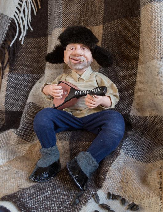 Коллекционные куклы ручной работы. Ярмарка Мастеров - ручная работа. Купить Дядь Коля. Handmade. Тёмно-синий, мужик, балалайка