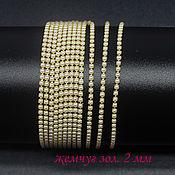 Материалы для творчества handmade. Livemaster - original item Rhinestone chain dense SS6 2 mm Pearls in Golden DACs 10 cm. Handmade.