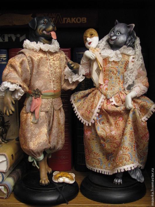 Коллекционные куклы ручной работы. Ярмарка Мастеров - ручная работа. Купить МАСКИ (пара). Handmade. Золотой, кошка, винтажное кружево