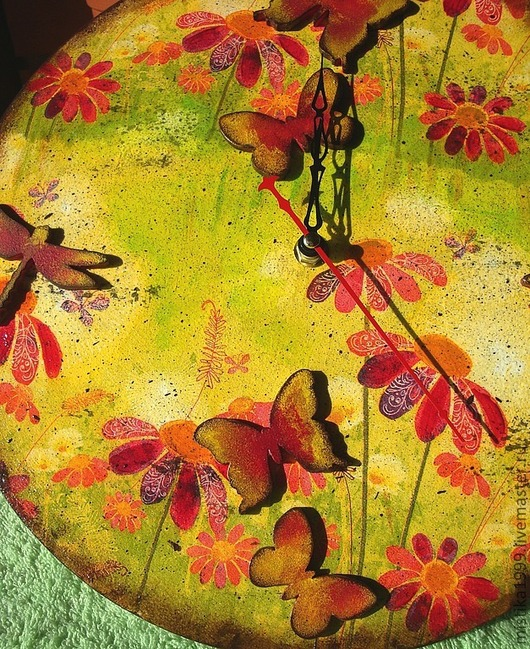 """Часы для дома ручной работы. Ярмарка Мастеров - ручная работа. Купить Часы """"Счастливое лето!"""". Handmade. Желтый, стрекозы, дача"""