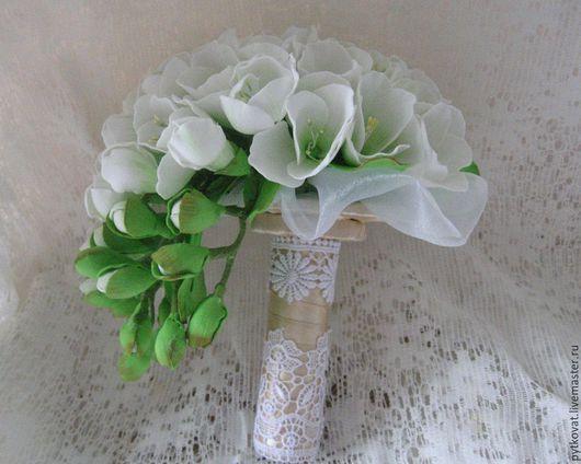 Букеты ручной работы. Ярмарка Мастеров - ручная работа. Купить Букет невесты из фоамирана (фрезии). Handmade. Белый, букет невесты