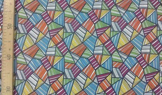 Ткань курточная мембрана `Треугольники оранжевые`