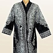 Одежда ручной работы. Ярмарка Мастеров - ручная работа Узбекский вышитый серебром и шелком национальный халат, чапан A7701. Handmade.