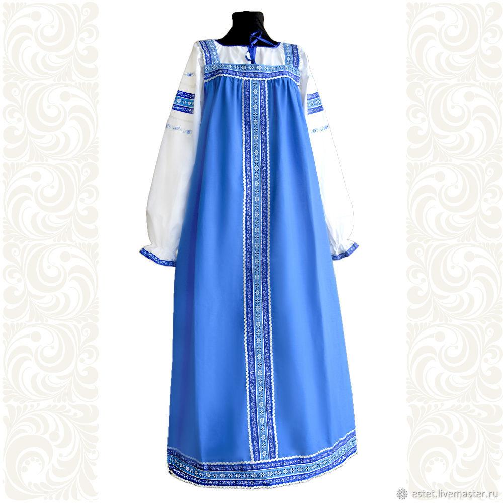 """Сарафан с блузой """"Голубые узоры"""", Народные костюмы, Королев, Фото №1"""