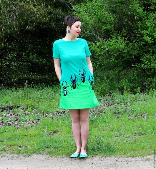 Платья ручной работы. Ярмарка Мастеров - ручная работа. Купить Платье с жуками. Handmade. Морская волна, жуки, вышитое платье
