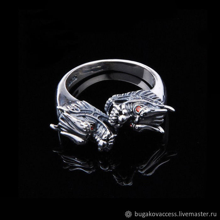 Ring with dragons dimensionless silver 925 with red zircons, Rings, Moscow,  Фото №1