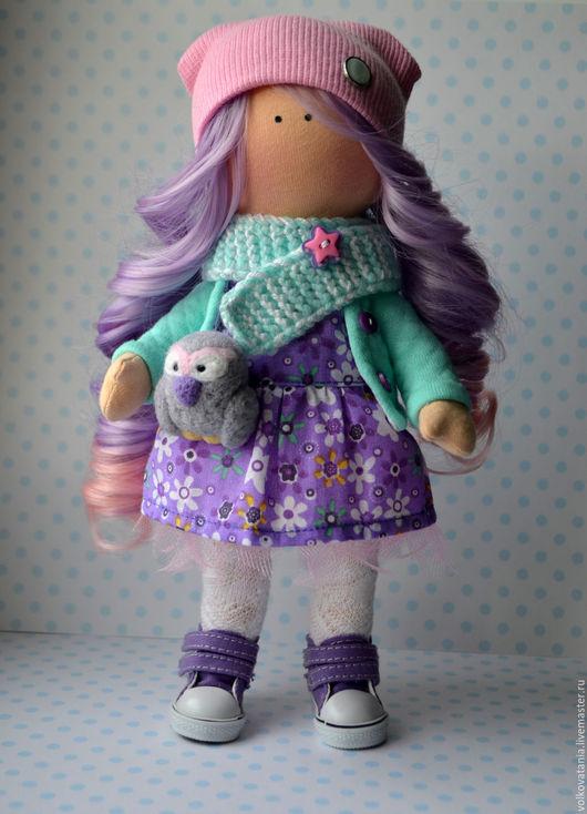 Коллекционные куклы ручной работы. Ярмарка Мастеров - ручная работа. Купить Куколка с совушкой. Handmade. Фиолетовый, белый, ручная работа