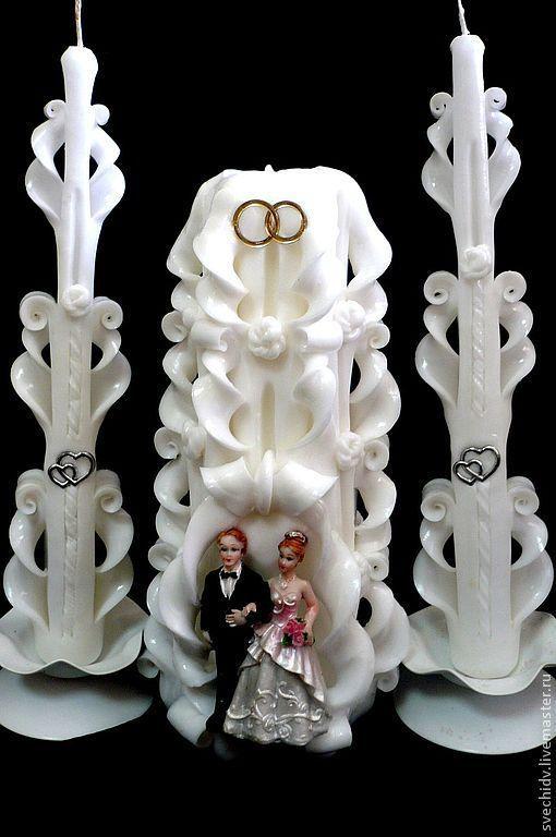 Свадебные аксессуары ручной работы. Ярмарка Мастеров - ручная работа. Купить Комплект свадебный с фигуркой молодоженов. Handmade. Белый