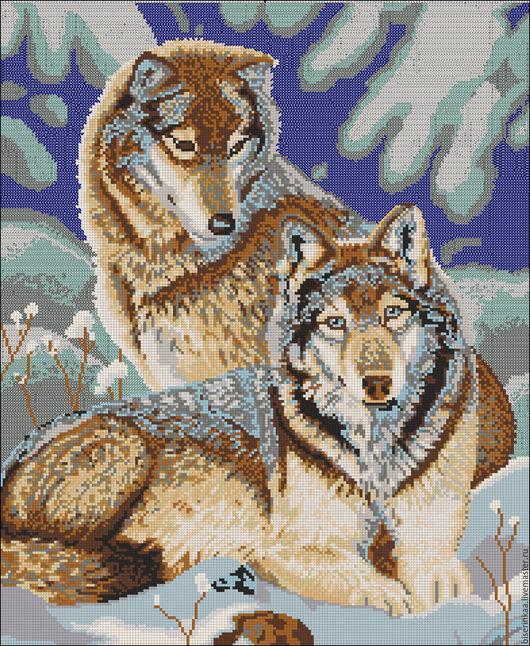 Схема вышивки бисером с полной зашивкой `Волки и зима`