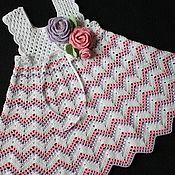 "Работы для детей, handmade. Livemaster - original item Сарафан ""Лиза"" связан крючком из хлопка. Handmade."