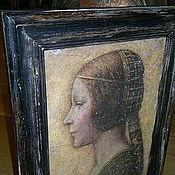 """Картины и панно ручной работы. Ярмарка Мастеров - ручная работа Картина 42х52 в багете """"Портрет девушки в профиль"""" Леонардо (ХИТ). Handmade."""