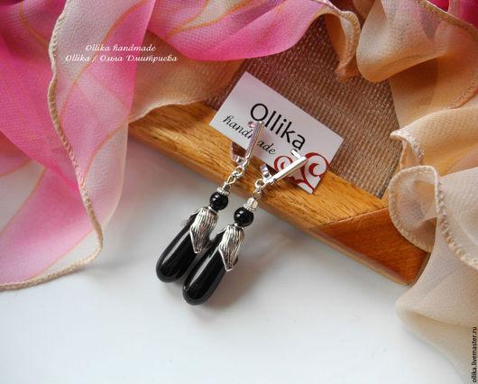 Серьги Черный Ландыш Агат, под Серебро подарок для женщины, серьги с подвесками ollika handmade, ollika Ольга Дмитриева