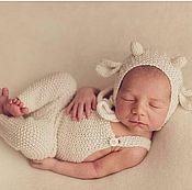 Работы для детей, handmade. Livemaster - original item Cap newborn photo shoot Shearling pants. Handmade.
