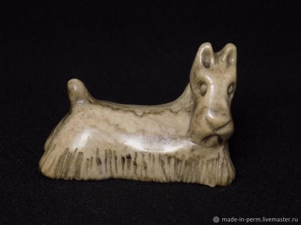 Собака Скотч-терьер - фигурка из камня Кальцит, Статуэтки, Орда,  Фото №1