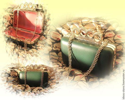 Женские сумки ручной работы. Ярмарка Мастеров - ручная работа. Купить Клатч. Handmade. Тёмно-зелёный, однотонный, розовый