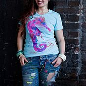 "Одежда ручной работы. Ярмарка Мастеров - ручная работа Дизайнерская Футболка  ""Seahorse"" by Lika Mellow. Handmade."