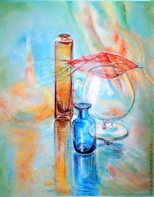 """Натюрморт ручной работы. Ярмарка Мастеров - ручная работа. Купить Картина пастелью """"Стеклянный блюз цвета осень...."""". Handmade."""