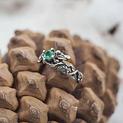 Engagement ring handmade. Livemaster - original item Engagement ring made of silver with emerald