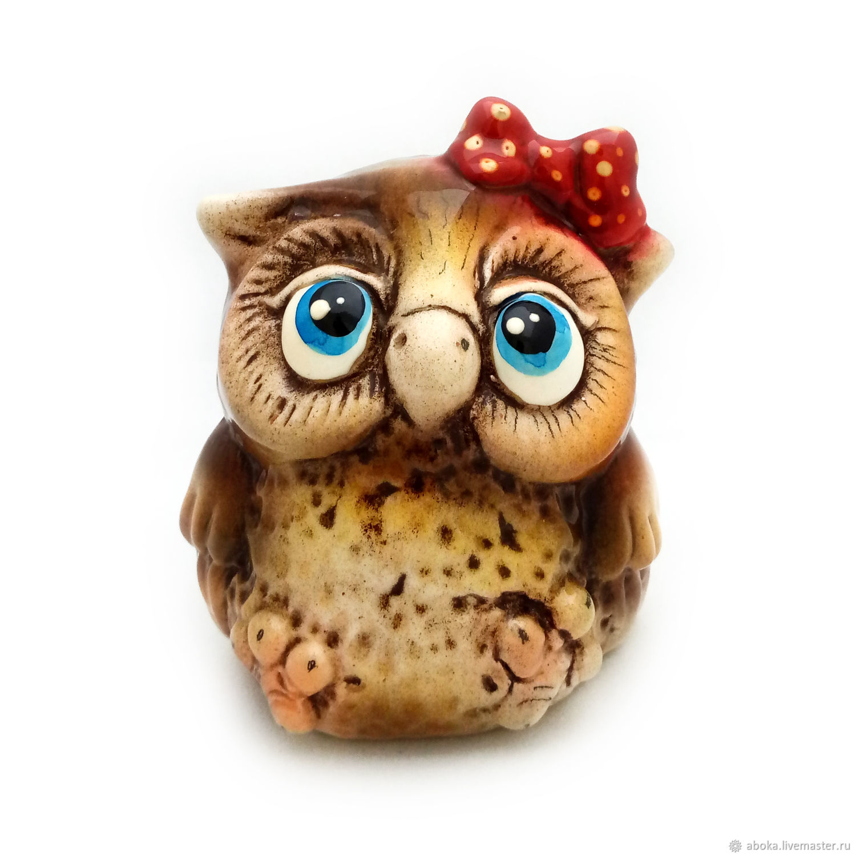 Ceramic statuette ' Owl with a bow', Figurine, Balashikha,  Фото №1