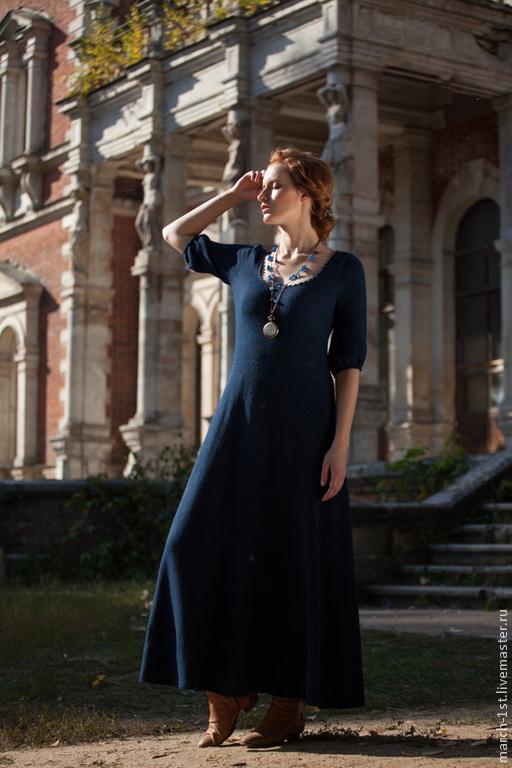 Платья ручной работы. Ярмарка Мастеров - ручная работа. Купить Платье Doroti,  длинное из альпаки. Handmade. Тёмно-синий, для работы