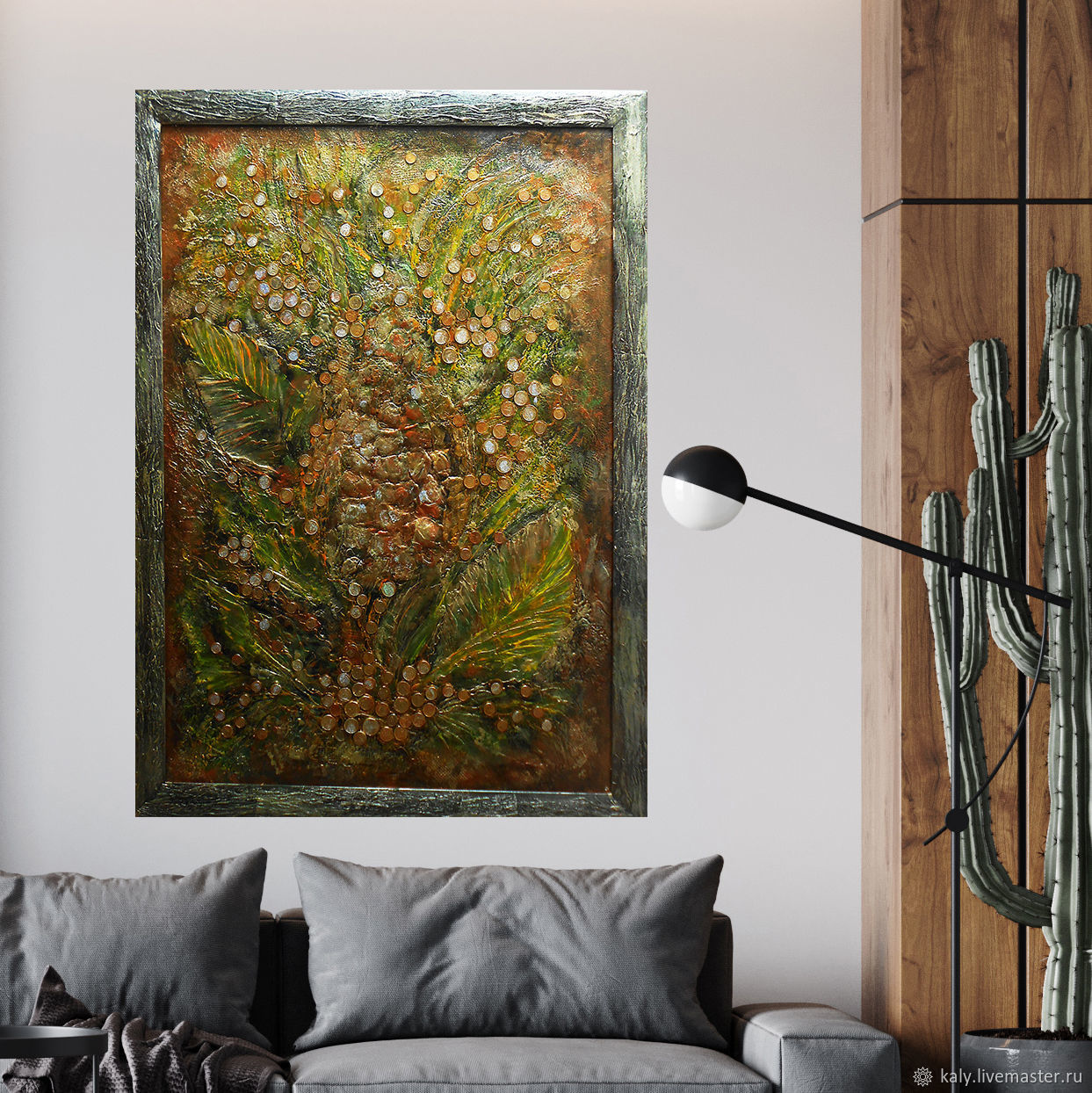 Large framed abstract gold leaf art collage mix media with coins, Pictures, St. Petersburg,  Фото №1
