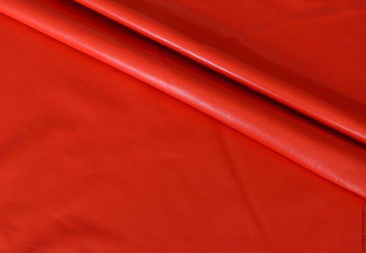 Шитье ручной работы. Ярмарка Мастеров - ручная работа. Купить Оранжево-красная натуральная кожа 0,5 мм. Handmade.