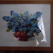 Картины и панно ручной работы. Ярмарка Мастеров - ручная работа незабудки,  картина вышивка лентами. Handmade.