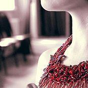 Украшения ручной работы. Ярмарка Мастеров - ручная работа Колье из бисера с кораллами Вишневое. Handmade.