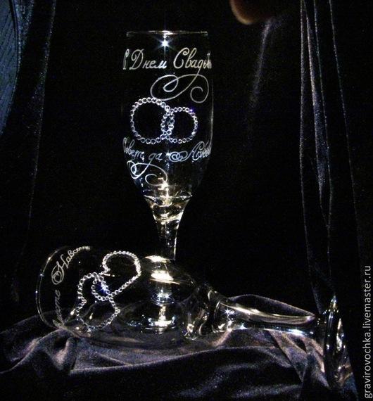 Бокалы, стаканы ручной работы. Ярмарка Мастеров - ручная работа. Купить Свадебные бокалы  Свадьба гравировка. Handmade. Гравировка, свадьба