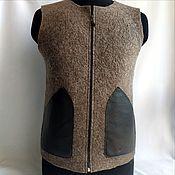 Мужская одежда handmade. Livemaster - original item Men`s felted vest 50-54 with leather pockets. Handmade.