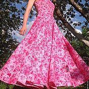 """Одежда ручной работы. Ярмарка Мастеров - ручная работа Платье летнее длинное из хлопка """"Розовые розы"""". Handmade."""