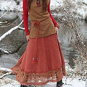"Одежда handmade. Livemaster - original item Long linen skirt ""Red clay"". Handmade."