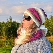 Аксессуары handmade. Livemaster - original item Knitted hat double Snood set