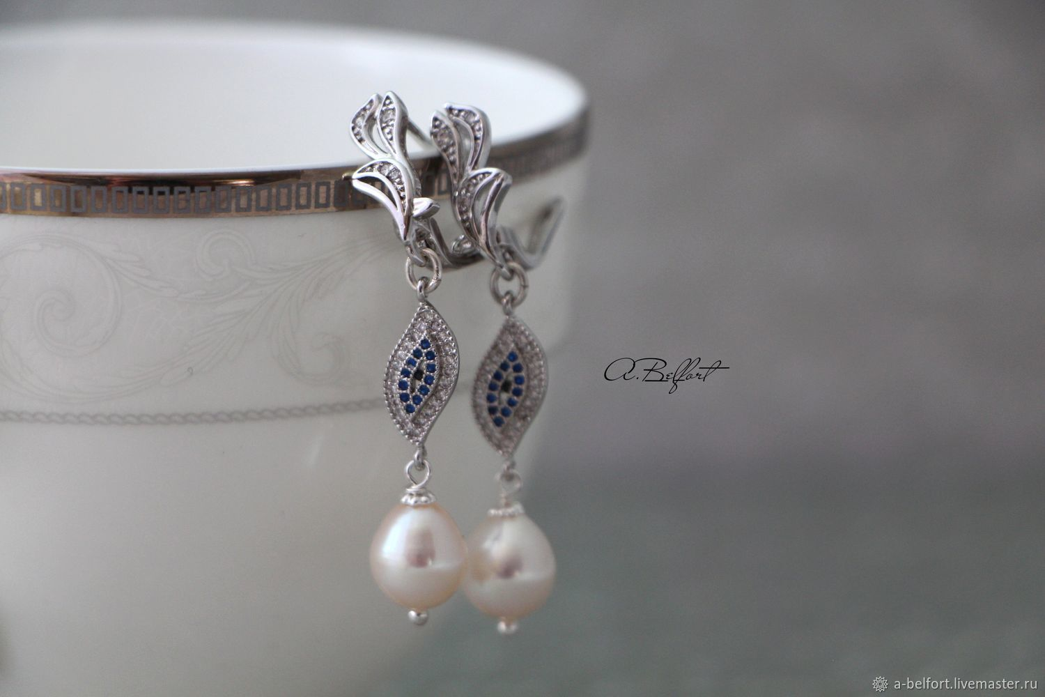 Earrings 'V' with natural pearls and zircons, Earrings, Omsk, Фото №1