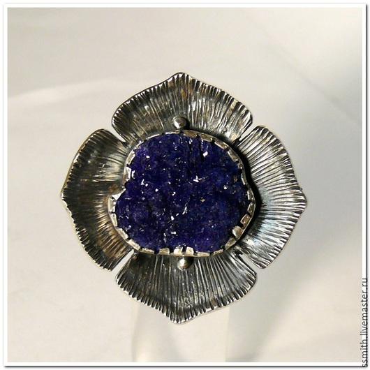 Кольца ручной работы. Ярмарка Мастеров - ручная работа. Купить Серебряное кольцо с азуритом 1. Handmade. Азурит