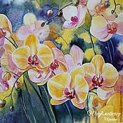 """Картины и панно ручной работы. Ярмарка Мастеров - ручная работа Акварель """"Желтые орхидеи"""". Handmade."""