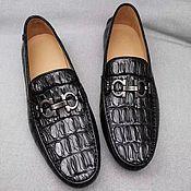 Обувь ручной работы handmade. Livemaster - original item Men`s moccasins made of embossed crocodile skin, black color!. Handmade.