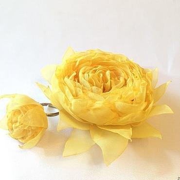 Украшения ручной работы. Ярмарка Мастеров - ручная работа Комплект Жёлтый- брошь-заколка и кольцо с цветком из ткани. Handmade.