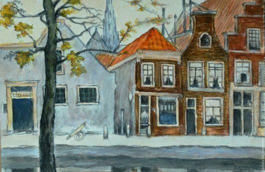 Город ручной работы. Ярмарка Мастеров - ручная работа. Купить Улочка в Амстердаме. Handmade. Городской пейзаж, улица, акварель, акварель